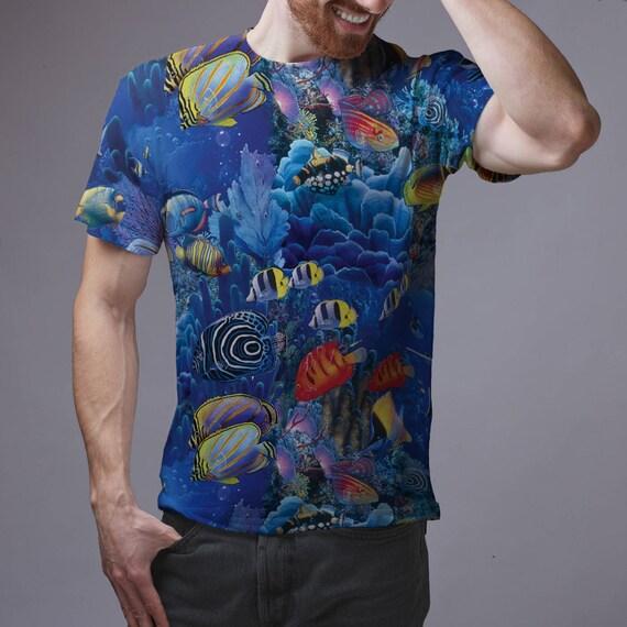 Scuba diving t shirt hawaiian shirt scuba diving aquarium for Fish hawaiian shirt