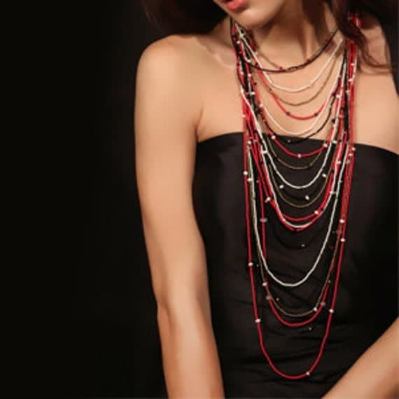 Red and white multistrand necklace for Christmas