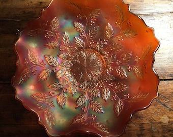 vintage deep marigold carnival glass fluted edged candy dish/opalescent carnival leaf pattern decorative dish/marigold leaf pattern