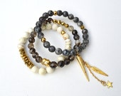 White Howlite Gold Hematite Matrix Agate Labradorite Gemstone Beaded Elastic Stacked Bracelet Set of 3 // Gold Stainless Steel Chain Spike