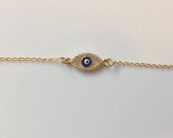 Mini oval evil eye bracelet~gold evil eye bracelet~delicate bracelet~gold layering bracelet~dainty jewelry~simple gold bracelet~layer