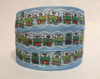 "1/3/5 Yards - 7/8"" Keroppi print Grosgrain Ribbon"
