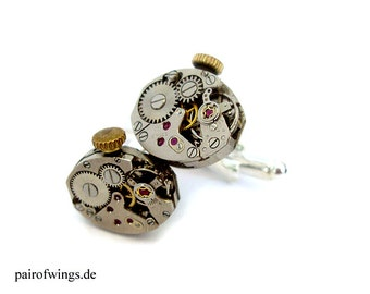 Steampunk cufflinks for watches collector movement vintage upcykling mens jewelry jewelry for steampunk mens costume including jewelry box