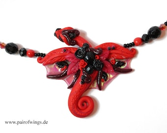 "Chain necklace Dragon in beads red black with roses hand-sculpted from polymer clay fantasy jewelry ""Rosenstolz"" unique jewelry"