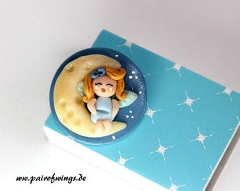 Brooch of Antecker fairy Moon Dolly figure mythical creature fantasy Princess night light blue jewelry hand modelled out of Fimo Premo Polymer Clay