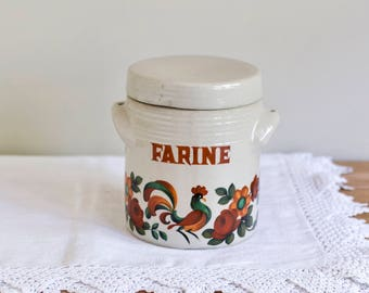 Vintage French Stoneware Kitchen Canister, Kitchen storage, Kitchen container, French kitchen, Limoges