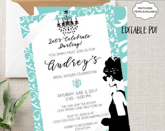 Breakfast at Tiffany's Invitation Printable Editable Bridal Shower Baby Shower Engagement Birthday Party Bachelorette Audrey Hepburn PCBTPS