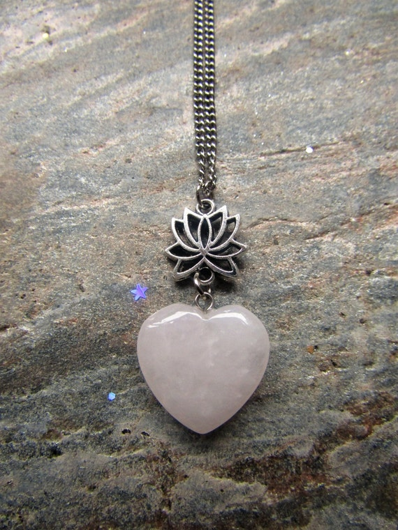 Pure Love Necklace with a Lotus Flower and Rose Quartz heart, Heart Necklace, Zen Necklace, Rose Quartz necklace, lotus jewelry, Heart