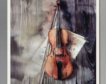 Watercolor violin original painting