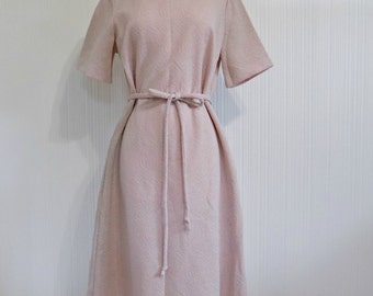 60's Pink And Silver Handmade Sheath Dress
