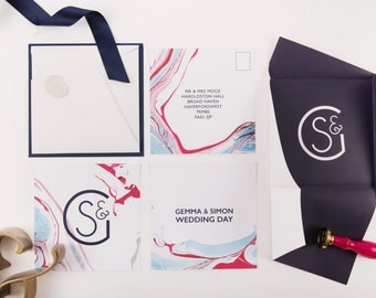 Mineral | Marbled Wedding Invitation | Sample Pack | Modern Wedding Invites | Luxury Wedding Stationery