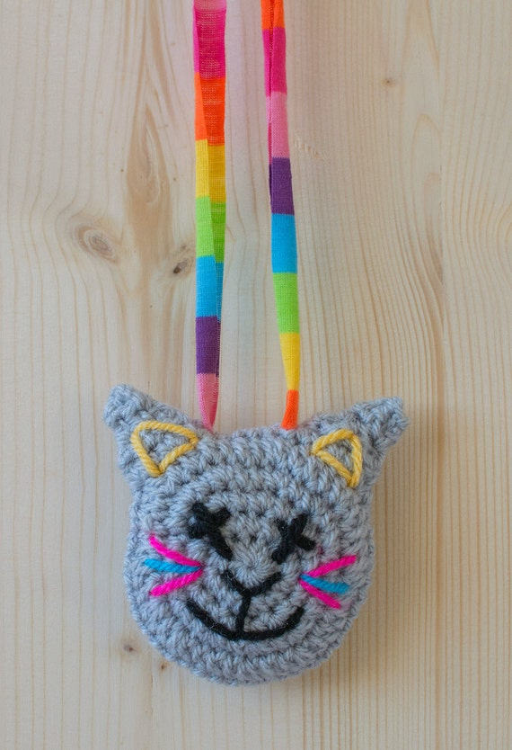 Disco Cat Crocheted Necklace