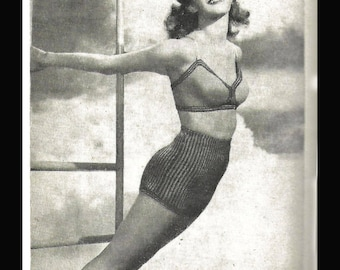 1940's Knitting Pattern Ladies Two-Colour Swim Suit Bathing Costume WWII PDF