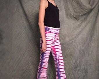 Colorful Yoga Pants, Girls Size 10, Purple Yoga Pants, Striped Yoga Pants, Soft Cotton Pants, Tye Dye Pants, Kids Cute Yoga Pants, D031798