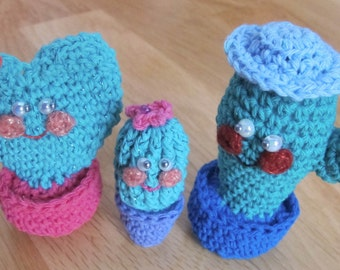 Family of cactus amigurumi set of 3, man + woman, girl, handmade by fairy M1 Creations crochet