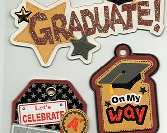 Graduation Chipboard 3D Glitter Tag Stickers Forever In Time Scrapbook Embellishments Cardmaking Crafts