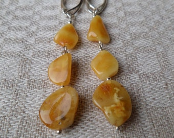 Genuine Baltic Amber Butterscotch Earrings 925 Sterling Silver (0018)