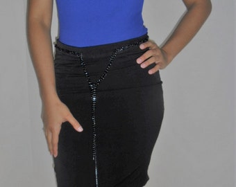 Business/ Casual black skirt with chain strap belt.