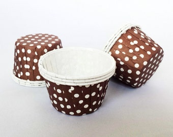 High Quality Pleated Brown & White Polkadot Baking Cups Cupcake Cases Muffin Cups