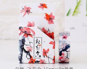 Falling Red Japanese Washi Tape, Masking Tape, Planner Stickers,Crafting Supplies,Scraping Booking,Adhesive Tape,Floral Washi Tape