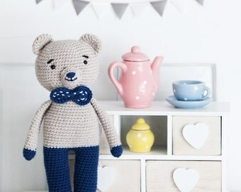 Crochet toys- amigurumi- crochet blue bear- gift for girl- gift for boy- baby shower present- christening present