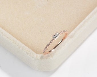 Baguette engagement ring rose gold Diamond wedding band women Half eternity band bridal Minimalist Dainty Simple Promise anniversary ring