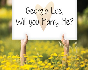 CUSTOM Will You Marry Me - Proposal Sign - Rose Gold Copper Marriage Unique Engagement - Choose Own Words Colors - PRINTED sign or PDF