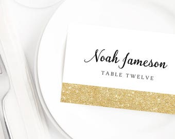 Gold Place Cards Gold Glitter Wedding Table Cards Wedding Template Place Cards Printable Sparkling Gold Wedding Name Place Cards for Wedding