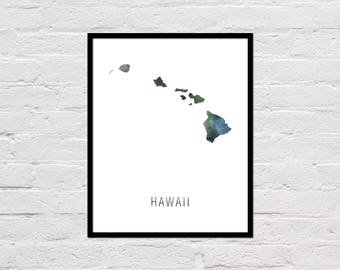 Hawaii Map Print, Printable Hawaii State Map, Hawaii Art Print, Hawaii Printable Wall Art, Watercolor Map, Hawaii Poster, Digital Download
