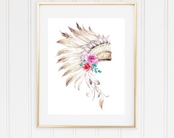 Watercolor Tribal Headdress Feathers Flowers Digital Download Print