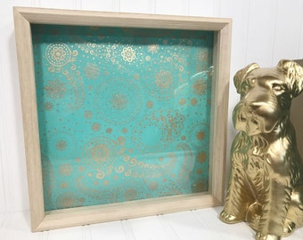 Teal and Gold Shadow Box