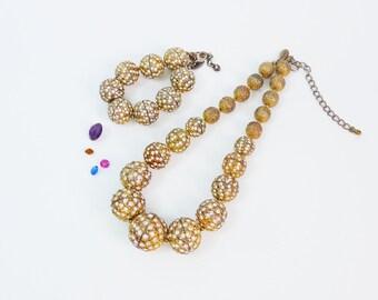 Vintage Scaasi Demi Parure Necklace & Bracelet Set - Mid century Designer Costume Statement Jewerly 2 Piece Set - Arnold Scaasi Retro Set