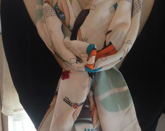 Nicole Miller Vintage Silk Scarf - Paper Doll Resort Whimsical Theme