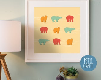 Nursery Animal Art, Polar Bear, Animal Print, Digital Download
