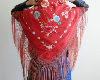 1930s Red Embroidered Piano Shawl
