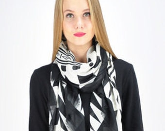 Tribal Jet Black Scarf, Spring Summer Wrap Shawl, Womens Scarf Lovers / Accessories