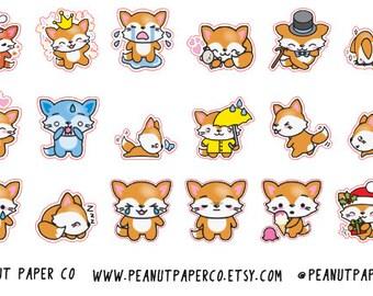 Floss The Fox, Kawaii Fox, Erin Condren Stickers, Happy Planner Stickers
