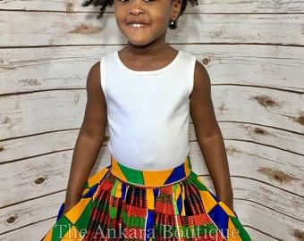Kente African Print Ankara Skirt For Toddlers w/Matching Bow