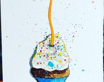 Watercolor Cupcake Birthday Card