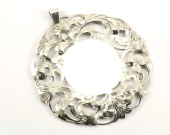 Vintage Round Large Engravable Scroll Pendant 925 Sterling Silver PD 792-E
