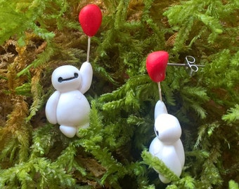 Earrings inspired by Baymax long red balloon