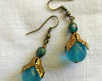 Czech faceted glass earrings / free shipping