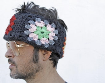 Tummler / Acid - Knitted HeadBand, Knitted Hat, Crochet Hat, Crochet Beanie, Granny Square HeadBand, J.W. Anderson
