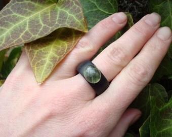 Prehnite Ring (7) Ebony Prehnite/Prehnite/Clarity/Prehnite Jewelry/Stone Ring/Wooden Stone Ring/Ebony Ring/Ebony/FromHerStrees/Handmade Ring