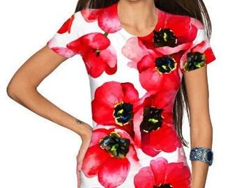Tulip Salsa Zoe Red White Floral Print Designer Tee