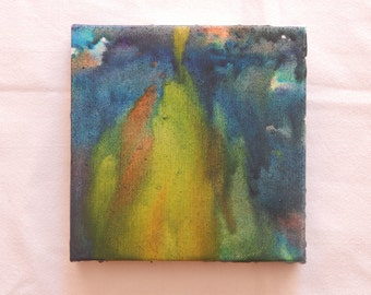 Melted Crayon Art- Green, Orange, and Yellow Multicolor