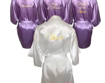 Set of 4 Robes, Set of 4 Bridal Robes, Set of 4 Kimono Robes, Bridesmaid Robes, Maid of Honour Robes, White and Lilac Set, Satin Robe Set