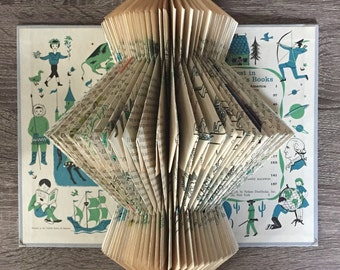 Vintage Children's Stories Book Art Sculpture - Folded Book Art Sculpture - Altered Book - Kids Room Decor - Nursery Decor - Wall Art