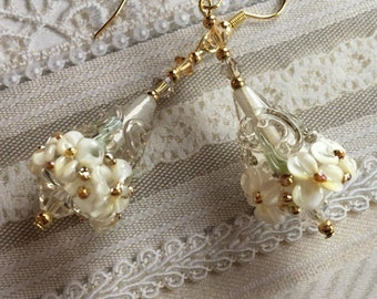 Creamy White Flower/Floral Earrings, Lampwork Jewelry, Valentines Day Gift, Mothers Day, Gift For Her