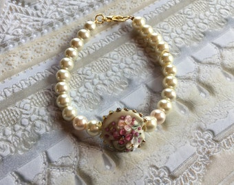 Pink and Cream Flower/Floral Bracelet, Lampwork Jewelry, SRA Lampwork Bead Bracelet, Mothers Day Gift, Gift For Her